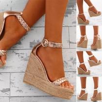 Sandalias de Tacón de Cuña de Moda