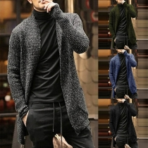 Fashion Mixed Color Long Sleeve Man's Knit Cardigan