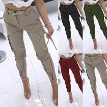 Pantalones de Bolsillo Lateral  de Talle Alto(Sin cinturón)