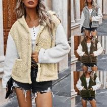 Fashion Contrast Color Long Sleeve Hooded Plush Coat