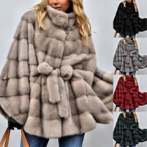 Fashion Solid Color Dolman Sleeve Stand Collar Faux Fur Coat