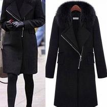 Fashion Solid Color Faux Fur Spliced Collar Woolen Coat