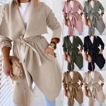 Fashion Solid Color Long Sleeve Lapel Windbreaker Coat