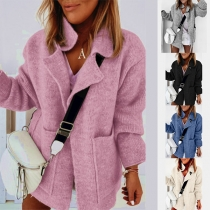 Fashion Solid Color Notched Lapel Knit Cardigan