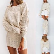Conjunto de dos piezas: Suéter de Manga Larga + Falda