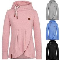 Fashion Solid Color Long Sleeve Hooded Irregular Hem Top