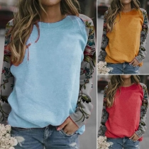 Fashion Printed Spliced Long Sleeve Round Neck T-shirt