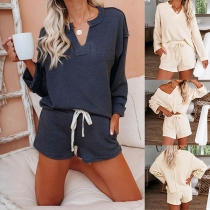 Fashion Solid Color Long Sleeve V-neck Top + Shorts Two-piece Set