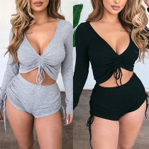 Sexy V-neck Long Sleeve Solid Color Crop Top + Shorts Two-piece Set