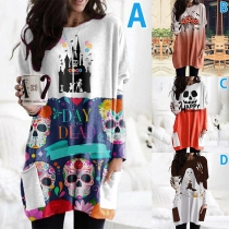Cute Carton Printed Long Sleeve Round Neck Loose Dress