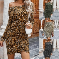 Sexy Off-shoulder Boat Neck Long Sleeve Leopard Printed Dress