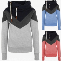 Fashion Contrast Color Long Sleeve Hooded Sweatshirt