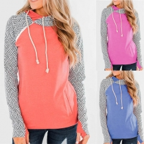 Fashion Printed Spliced Long Sleeve Hooded Sweatshirt