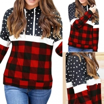 Fashion Plaid Spliced Long Sleeve Hooded Dots Printed Sweatshirt