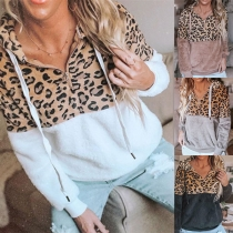 Fashion Leopard Spliced Long Sleeve Hooded Plush Sweatshirt