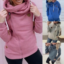 Fashion Solid Color Long Sleeve Oblique Zipper Hooded Sweatshirt