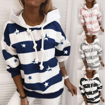 Fashion Lip Pattern Long Sleeve Hooded Striped Sweatshirt