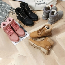 Fashion Flat Heel Round Toe Plush Lining Lace-up Rivets Martin Boots