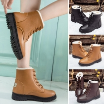 Fashion Flat Heel Round Toe Plush Lining Lace-up Martin Boots
