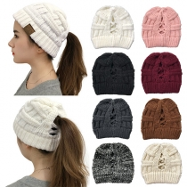 Fashion Solid Color Hollow Out Knit Beanies
