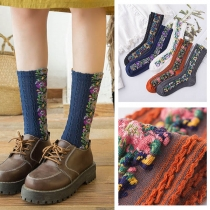 Retro Style Colorful Printed Socks