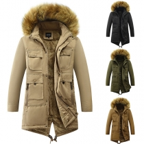 Solid Color Faux Fur Spliced Hooded Plush Lining Warm Padded Coat