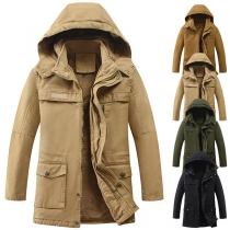 Fashion Solid Color Long Sleeve Hooded Man's Padded Coat