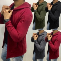 Casual Solid Color Hooded Long Sleeve Sweatshirt Coat For Man