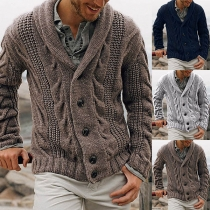 Fashion Solid Color Long Sleeve Man's Knit Cardigan