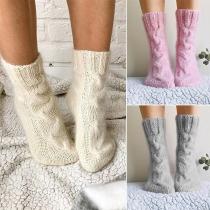 Calcetines de Punto de Color Sólido de Moda