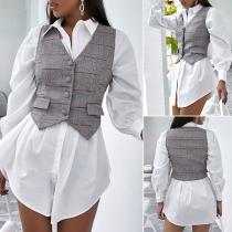Fashion V-neck Irregular Hem Plaid Vest