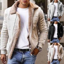 Fashion Solid Color Long Sleeve Plush Lining Man's  Coat