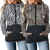 Fashion Zebra-stripe/Leopard Spliced Long Sleeve Hooded Sweatshirt