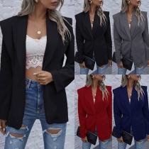 OL Style Long Sleeve Solid Color Slim Fit Blazer