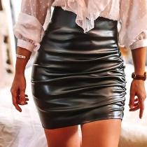 Mini Falda de Talle Alto de Piel Sintética