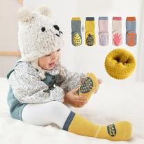 Calcetines Antideslizantes -2 par / juego con Estampado de Fruta de Color de Contraste de Estilo Lindo
