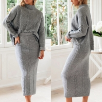 Fashion Solid Color Long Sleeve Mock Neck Sweater + Skirt Two-piece Set