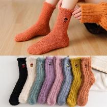 Calcetines de Peluche de Color Sólido de Moda