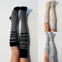 Calcetines de Tejido de Punto por Encima de la Rodilla con Estampado de Moda