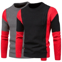 Fashion Contrast Color Long Sleeve Round Neck Man's Sweater
