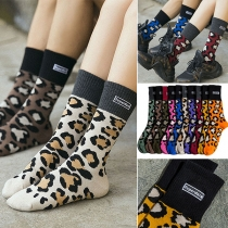 Calcetines Estampados Leopardo de Color en Contraste de Moda
