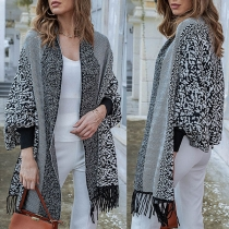 Fashion Dolman Sleeve Printed Spliced Tassel Hem Knit Cloak