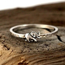Cute Style Silver-tone Elephant Shaped Ring