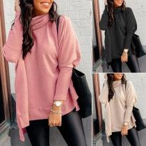 Fashion Solid Color Slit Hem Cowl Neck Loose Knit Top