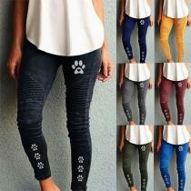 Pantalones de Lápiz Estampados de Cintura Alta de Moda