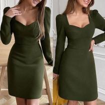 Elegant Solid Color Long Sleeve V-neck Slim Fit Dress