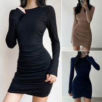 Fashion Solid Color Long Sleeve Round Neck Slim Fit Wrinkled Dress