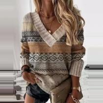 Fashion Long Sleeve V-neck Printed Top