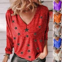 Fashion Long Sleeve V-neck Star Printed T-shirt