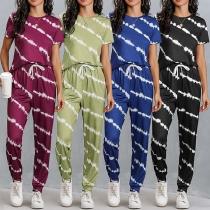 Fashion Short Sleeve Round Neck Tie-dye Printed T-shirt + Pants Two-piece Set